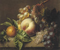A peach, medlar, grapes and white currants on a ledge - Adriana-Johanna Haanen