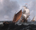 A wijdschip running before the wind while a merchantman fires a salute, in a stiff breeze - Aernout Smit