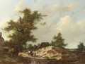 Travellers on a sandy track through a village in a wooded landscape - Adrianus Van Der Koogh