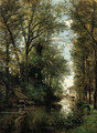 Figures along a wooded canal - Achille-Francois Oudinot