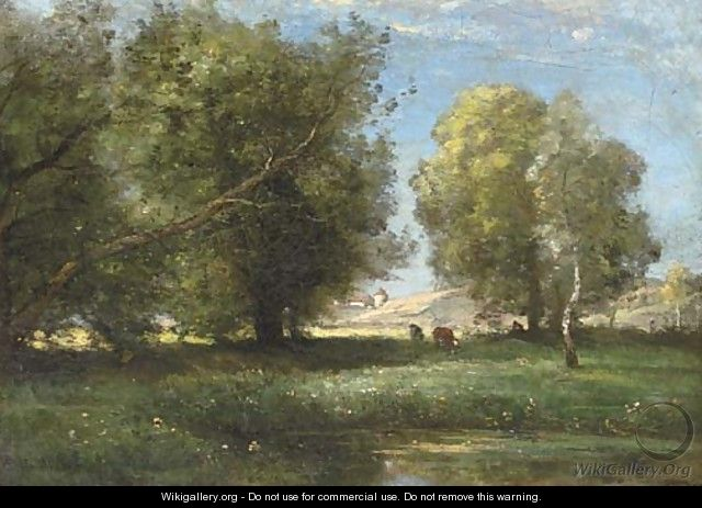 Cattle in a sunlit meadow - Achille Francois Oudinot