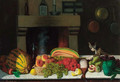 A selection of fruit and vegetables on a marble ledge in a kitchen, a cat alongside - Achille Ernest Mouret