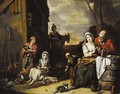A peasant family in a yard - Abraham Willemsens