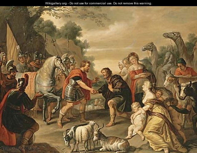 The reconciliation of Jacob and Esau - Abraham Willemsens