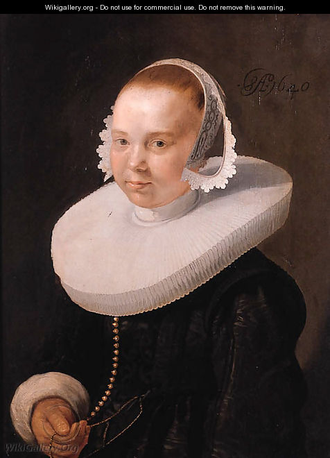 Portrait of a young woman, half length, wearing a black dress with molensteenkraag, lace cuffs and bonnet - Abraham Willaerts