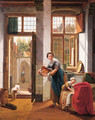 A mother with her children in the hall of a town house - Abraham van, I Strij