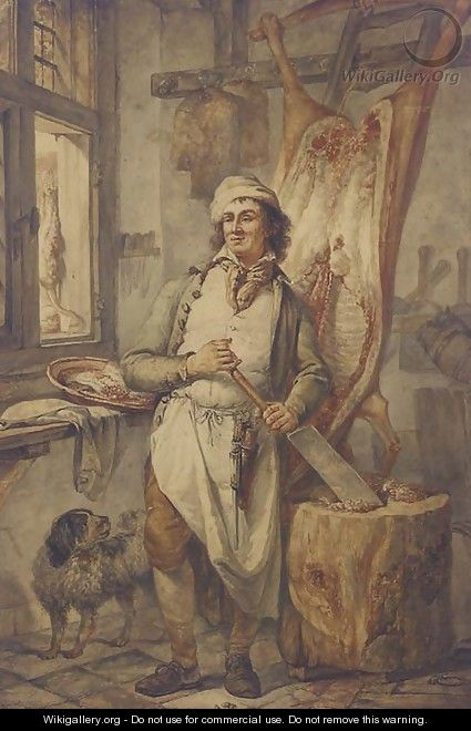 A butcher at his block, a side of beef to the right - Abraham van, I Strij