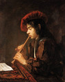 The Piping Boy portrait of a youth, half-length seated, playing a pipe, in a slashed doublet and a red hat - Abraham van Dyck