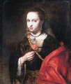A young woman, small half-length, in a brown dress with a red mantle, a rose in her right hand - Abraham van Dijck