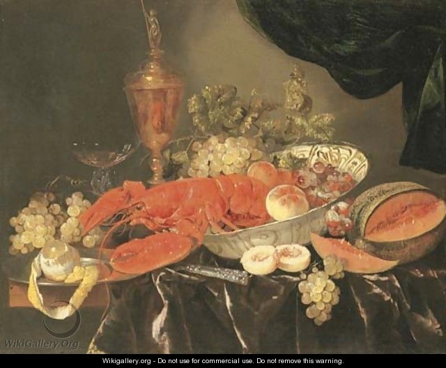 A lobster with grapes and a peach in a Wan-li