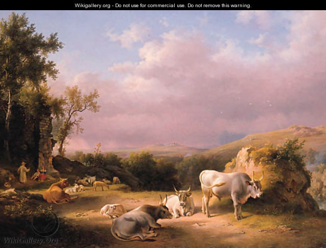 Buffaloes in the Roman Campagna at sunset with cattle, shepherds and tavellers by a ruined wall beyond - Lievine Teerlink
