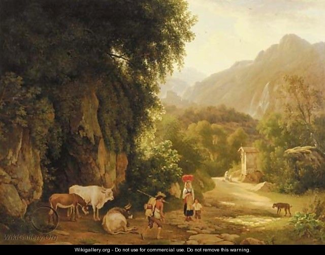 An Italianate landscape with travellers and peasants on a mountain track, others praying in front of a chapel beyond - Lievine Teerlink