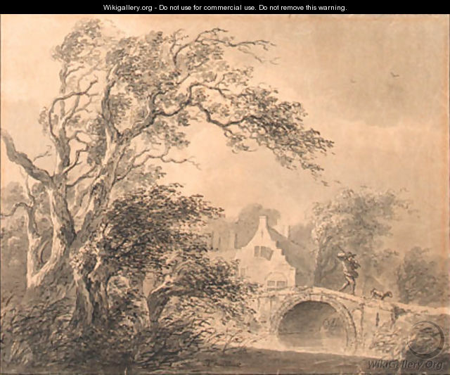 A figure on a bridge by a house, a tree in the foreground - Lievine Teerlink