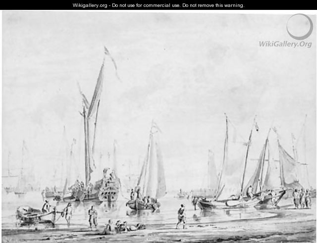 Sailing vessels moored off a beach, with figures unloading small boats - Abraham Storck