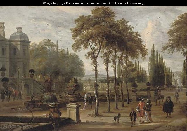 Elegant company in a garden by a mansion - Abraham Storck