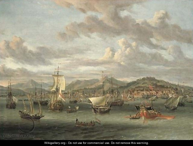 Dutch shipping off the Bay of Smyrna with a state barge - Abraham Storck