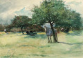 Horses and cattle resting beneath shade in an open landscape - Adhemar Louis Vicomte De Clermont-Gallerande