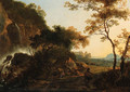 An Italianate Landscape with a Traveller on a Path by a Waterfall, a drover and cattle beyond - Adam Pynacker