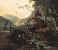 An Italianate landscape with a donkey and a rearing horse crossing a collapsing bridge - Adam Pynacker