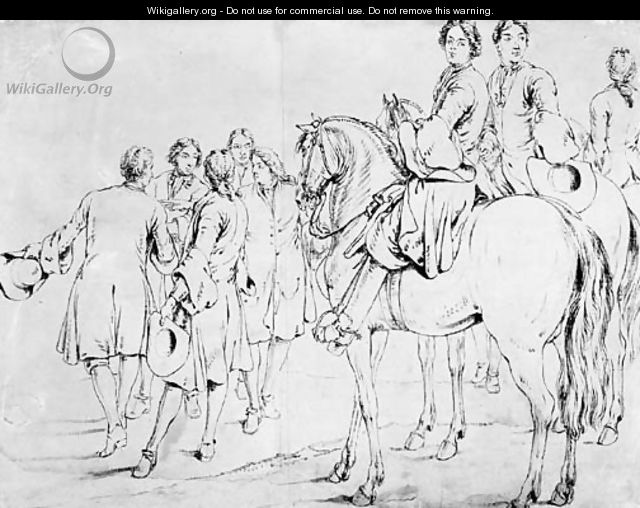 Two mounted Officers, a third behind and a group of five men conferring, some gesturing to the left - Adam Frans van der Meulen