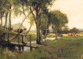 And A Girl On A Bridge Over A Stream - Adam Edwin Proctor