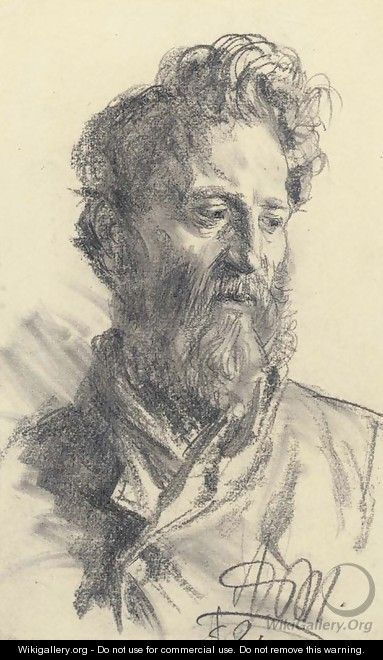 Head of a bearded man looking down to the right - Adolph von Menzel