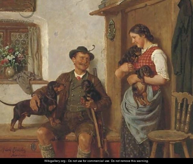 Admiring the puppies - Adolf Eberle