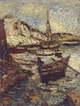 Boats in a harbour - Adolphe Joseph Thomas Monticelli
