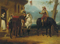 Two mounted cavaliers and another drinking ale outside an inn - Abraham Cooper