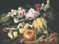 Melons, figs, cherries, a pomegranate and mixed flowers in a clearing - Abraham Brueghel