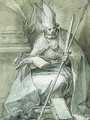 A seated Bishop holding a Crozier, a Sword, a Whip and a Book - Abraham Bloemaert