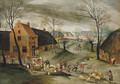 A wooded winter village landscape with peasants slaughtering pigs - Abel Grimmer