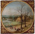 Autumn A village scene with peasants and livestock by a road, cottages and a windmill beyond, in a feigned roundel - Abel Grimmer