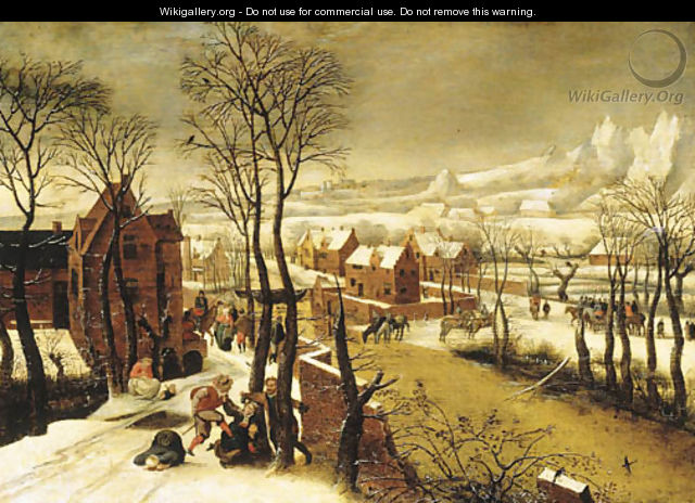 A village landscape in winter with the Massacre of the Innocents - Abel Grimmer