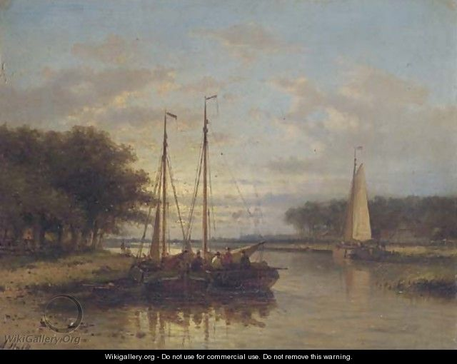 Sailing vessels on a calm river at dusk - Abraham Hulk Jun.