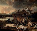 Hounds attacking a bull in a river landscape - Abraham Danielsz Hondius