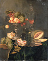 Nectarines, peaches, grapes and raspberries on a silver tazza, two roemers and a sliced peach with a knife on a silver plate, a melon, a bread roll - Abraham Hendrickz Van Beyeren