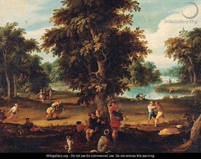 Peasants making music and disporting in a wooded river landscape - Abraham Govaerts