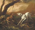Dogs fighting ovar a dead stag in a landscape - Abraham Danielsz. Hondius
