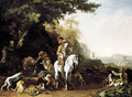 An extensive landscape with a hunting party resting by a water trough and a sportsman shooting - Abraham Danielsz. Hondius