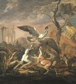 An evening landscape with dogs flushing a heron among Italianate ruins - Abraham Danielsz. Hondius