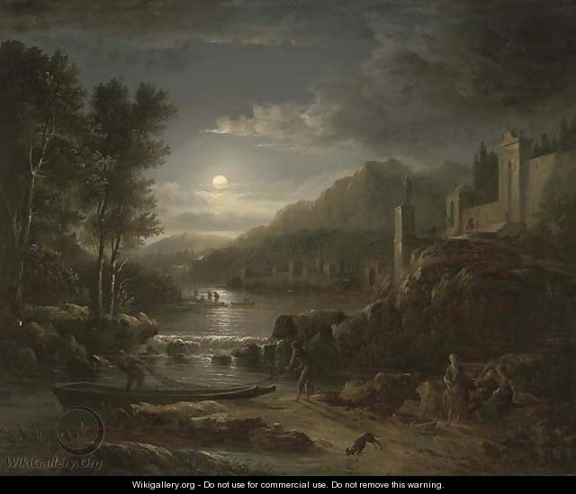 Fishermen along a river by moonlight - Abraham Pether