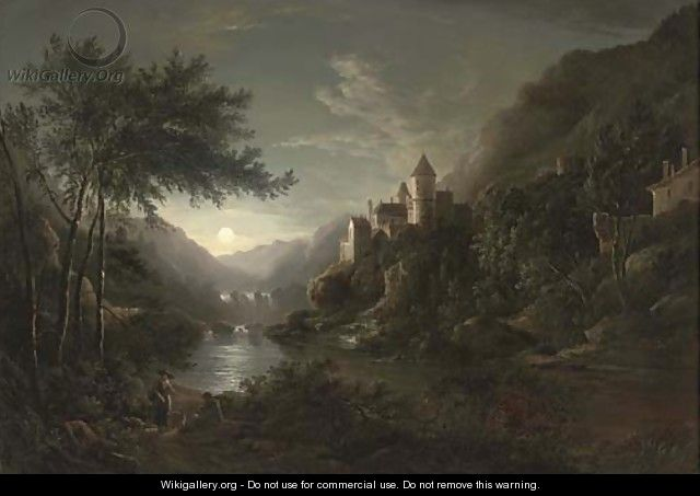 Figures beside a moonlit river with a castle on a hillside - Abraham Pether