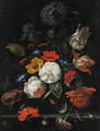 Roses, parrot tulips, poppies, morning glory, a carnation, an iris, paeonies and other flowers, with ears of corn in a glass vase with snails - Abraham Mignon