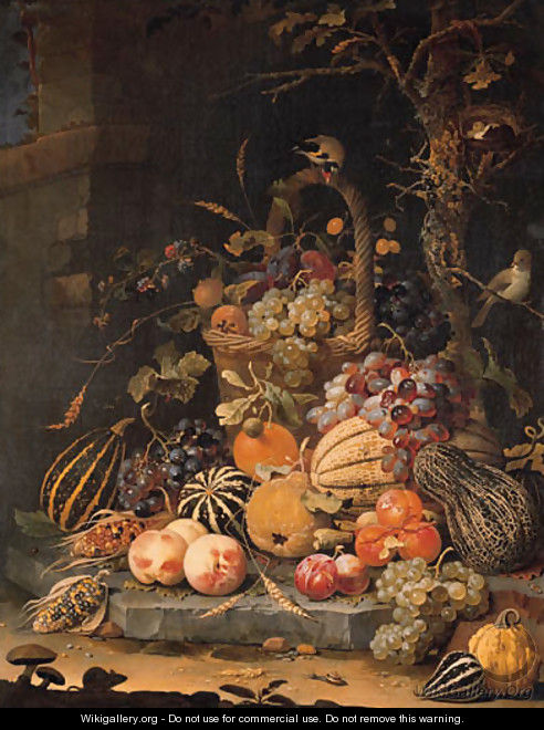A forest floor still life with grapes, plums, rosehips, blackberries and ears of corn in a basket, with peaches, melons and corn cobs on a stone slab - Abraham Mignon