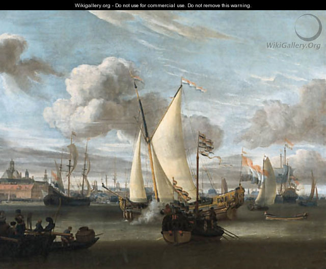 Shipping in the Harbour of Amsterdam with a Dutch East India Company yacht and a state barge in the foreground - Abraham Storck