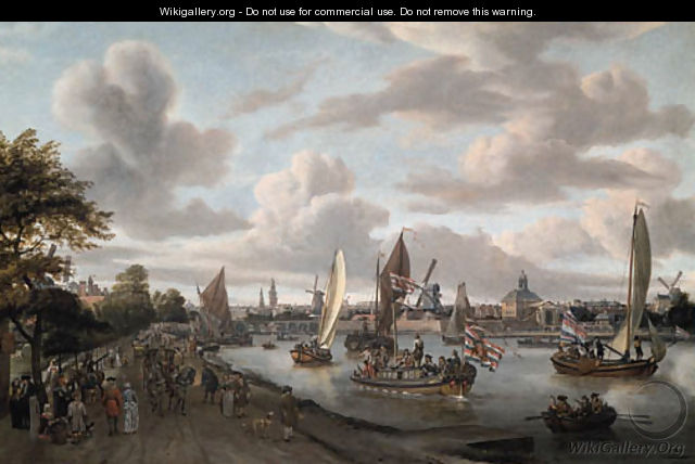A View of Amsterdam with a trekschuit and smalschepen on the river Buiten-Amstel near the hooge sluis, with elegant figures - Abraham Storck