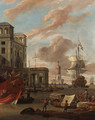 A Mediterranean port with traders by a quay, a princely galley, a Dutch man-o-war and other shipping beyond - Abraham Storck