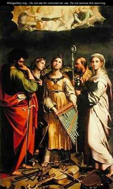 St. Cecilia surrounded by St. Paul, St. John the Evangelist, St. Augustine and Mary Magdalene - Denys Calvaert