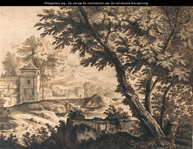 Trees by a ruined wall near a dovecote by a cloister - (after) Isaac De Moucheron